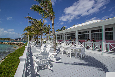 The Deck at Sunsetter Restaurant at Orchid Bay on Guana Cay